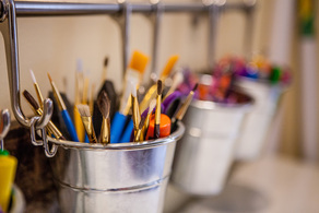 Paint Brushes in Art Therapy Office